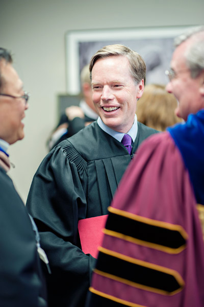 Commencement Speaker Ambassador Nicholas Burns greets President O'Donnell and other officials prior to the Commencement Exercises.