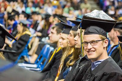 Bachelor of Science degree graduate Patrick Terhune decorated his mortarboard with a geological structure during commencement May 8, 2016, at the Carlson Center. Terhune received a degree in geoscience: geology.  Filename: GRA-16-4896-467.jpg