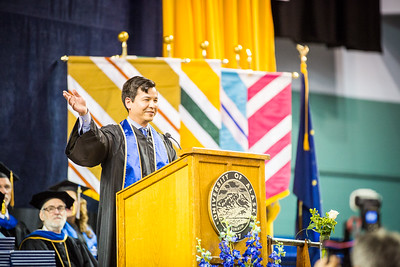 Aaron Schutt, president and CEO of Doyon Limited, recognized all the mothers inside the Carlson Center before continuing his speech at the Commencement 2016 ceremony.  Filename: GRA-16-4896-436.jpg