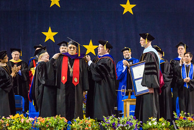Trimble Gilbert receives an honorary doctor of laws degree at the commencement ceremony May 8, 2016, at the Carlson Center.  Filename: GRA-16-4896-550.jpg