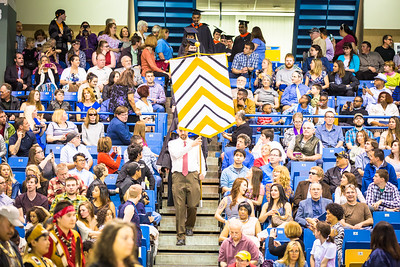 Students from the College of Engineering and Mines walk down to the main floor of the Carlson Center during the commencement processional, Sunday, May 8, 2016.  Filename: GRA-16-4896-321.jpg