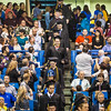 Graduates process down to the main floor of the Carlson Center during the 2017 commencement ceremony.