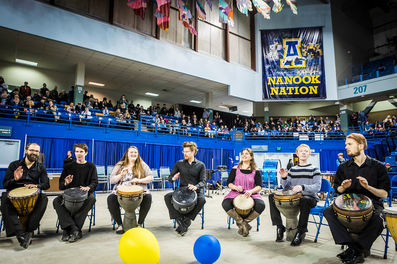 UAF's Ensemble 64.8 provides lively music during the recessional at UAF's commencement ceremony on May 5, 2018, at the Carlson Center.