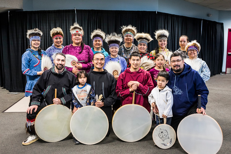 The Acilquq dance group gathers before UAF's 2018 commencement ceremony at the Carlson Center on May 5, 2018.