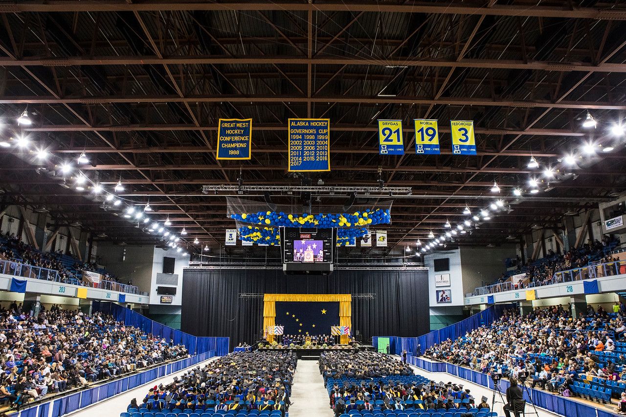 Class speaker Aaron Cottle addresses graduates at UAF's 2018 commencement ceremony in the Carlson Center on May 5, 2018.