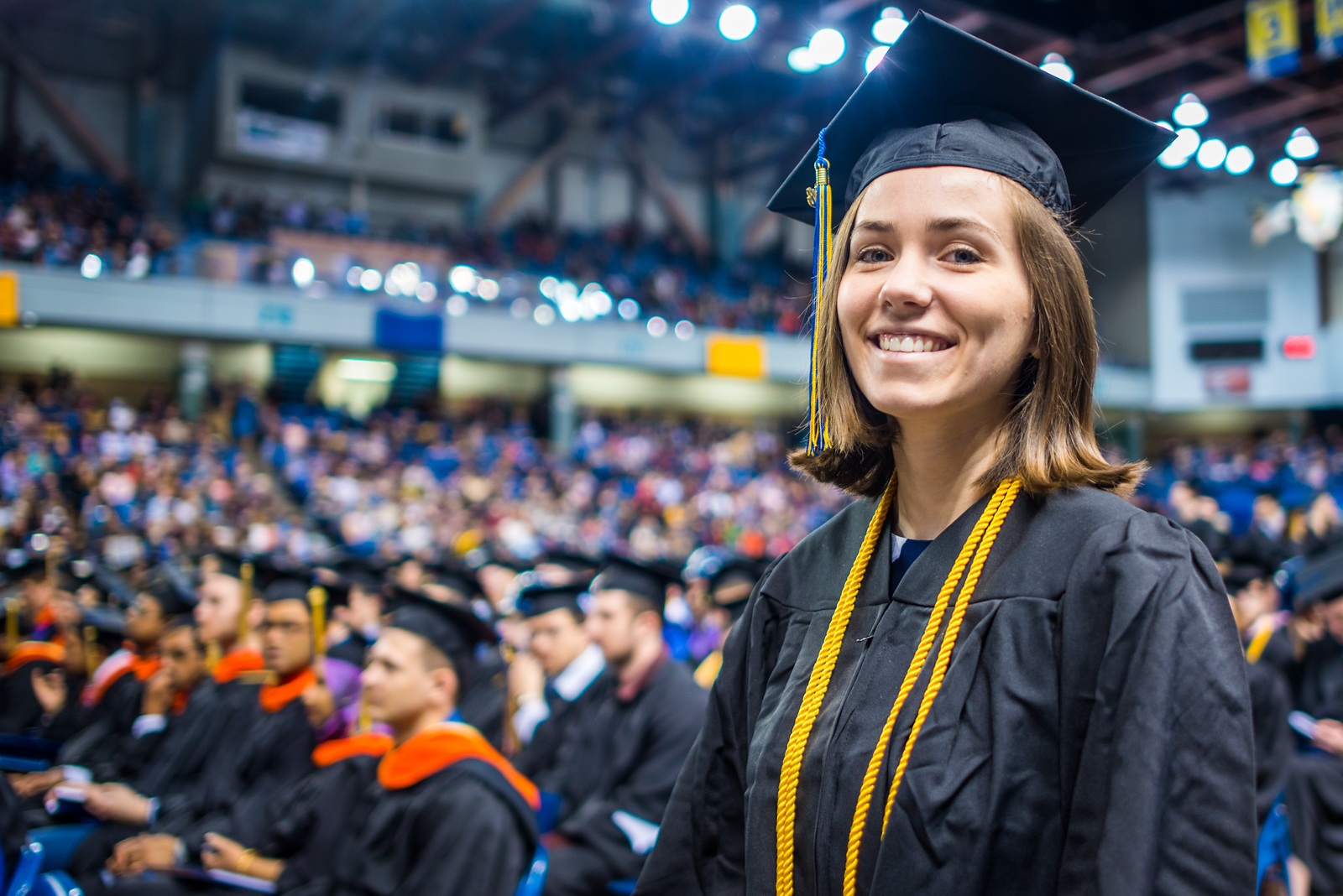 Kennedy Cailin Demboski, who earned a bachelor's degree in biological sciences, waits to receive her degree at UAF's commencement ceremony at the Carlson Center on May 5, 2018.