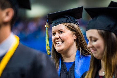 Åsne Honerød Hoveid, who earned a bachelor's degree in biological sciences, waits in line during UAF's commencement ceremony at the Carlson Center on May 5, 2018.