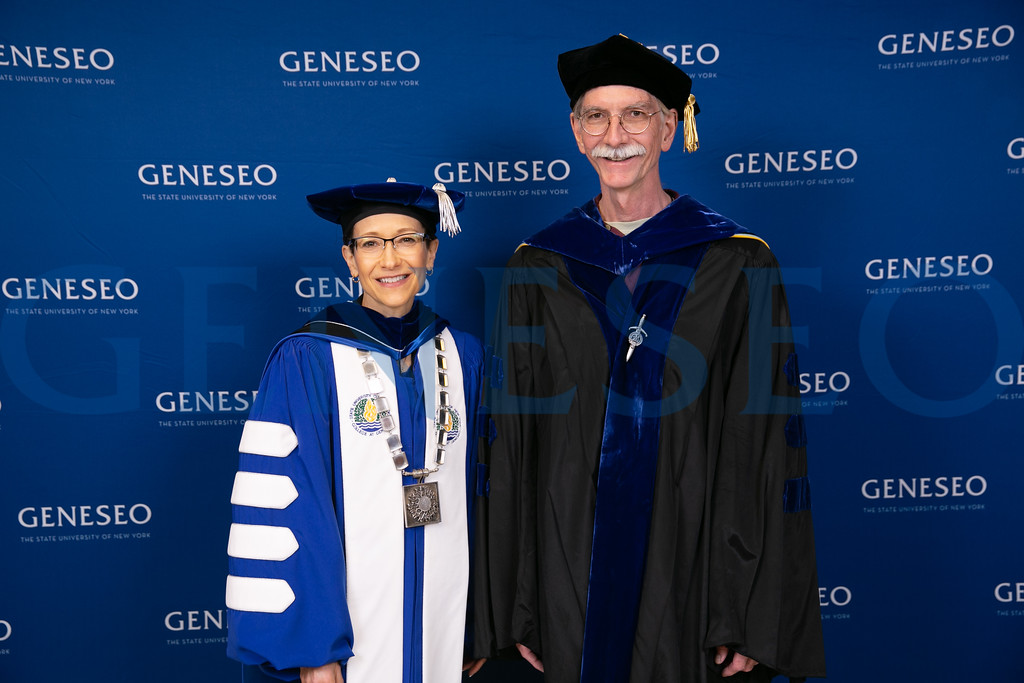 President Denise A. Battles and Duane McPherson, Chair, College Senate