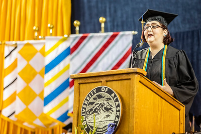 Class speaker Jessica K. Obermiller, who earned a bachelor's degree in anthropology, speaks during the University of Alaska Fairbanks' 97th commencement ceremony at the Carlson Center on May 4, 2019.