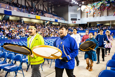 The University of Alaska Fairbanks Inu-Yupiaq Student Dance Group leads the processional at the beginning of UAF's commencement ceremony Saturday, May 4, 2019, at the Carlson Center.