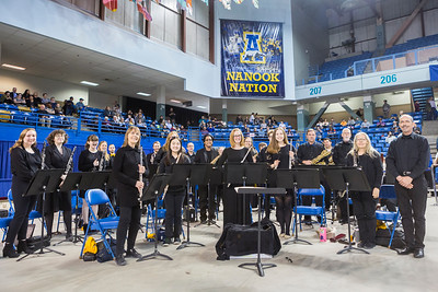 "The University of Alaska Fairbanks Wind Symphony, under the direction of George Rydlinski, prepare to perform at UAF's 97th commencement ceremony in the Carlson Center on Saturday, May 4, 2019. The symphony welcomed graduates to the floor with ""Pomp and Circumstance."""