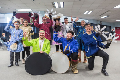 The University of Alaska Fairbanks Inu-Yupiaq Student Dance Group prepares to lead off UAF's 97th commencement ceremony at the Carlson Center on Saturday, May 4, 2019.