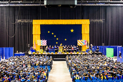Class speaker Jessica K. Obermiller, who earned a bachelor's degree in anthropology, speaks during the University of Alaska Fairbanks' commencement ceremony at the Carlson Center on May 4, 2019.