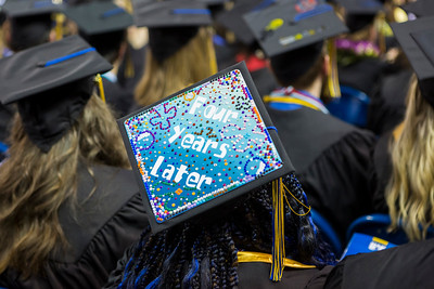 Graduates creatively decorated their caps for the University of Alaska Fairbanks' commencement ceremony May 4, 2019.