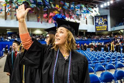 Sarah Sefton blows a kiss toward the audience during the University of Alaska Fairbanks' commencement ceremony at the Carlson Center on May 4, 2019. Sefton received a bachelor's degree in elementary education.