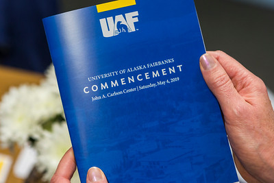 The 97th University of Alaska Fairbanks commencement ceremony took place on Saturday, May 4, 2019, at the Carlson Center in Fairbanks. UAF conferred about 1,366 degrees and certificates to to 1,277 students this year, and about 600 students walked across the stage during the commencement ceremony.