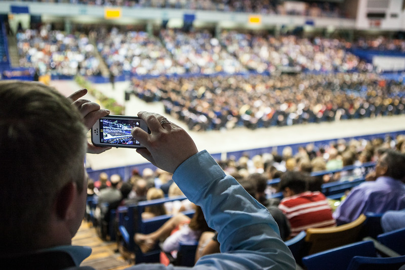 """Family, friends, and members of the community show their support to the graduating class of 2014 during the UAF Commencement Ceremony Sunday, May 11, 2014, at the Carlson Center.  This year's graduating class is the largest in university's history with more than 1,500 degrees.  <div class=""""ss-paypal-button"""">Filename: GRA-14-4187-127.jpg</div><div class=""""ss-paypal-button-end""""></div>"""