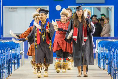 The Inu-Yupiaq dance group led the traditional processional during UAF's 2014 Commencement ceremony May 11 in the Carlson Center.  Filename: GRA-14-4186-0124.jpg