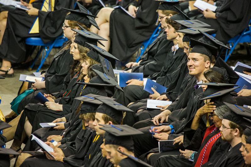 "George Ferree smiles as he looks toward the stands during the 2014 Commencement Ceremony.  <div class=""ss-paypal-button"">Filename: GRA-14-4187-120.jpg</div><div class=""ss-paypal-button-end""></div>"