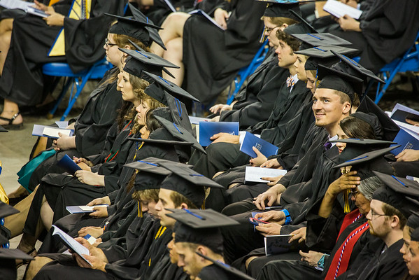 """George Ferree smiles as he looks toward the stands during the 2014 Commencement Ceremony.  <div class=""""ss-paypal-button"""">Filename: GRA-14-4187-120.jpg</div><div class=""""ss-paypal-button-end""""></div>"""