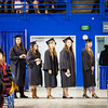 Graduates line up before walking across the stage during the 2015 UAF commencement ceremony at the Carlson Center.