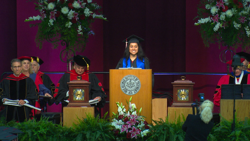 Welcome by Karina Colotl, opening remarks by President James Conwell, comments from senior class by Class President Carli Weinberg - RHIT Commencement 2018