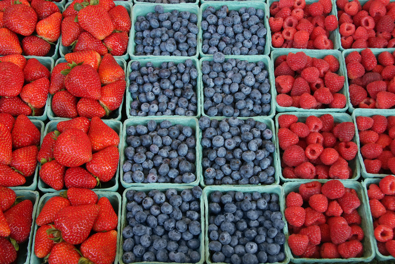 "Fresh, organically grown berries - strawberries, blueberries, raspberries.  (To purchase prints or downloads, click on the ""Buy"" or shopping cart button above the image.)"