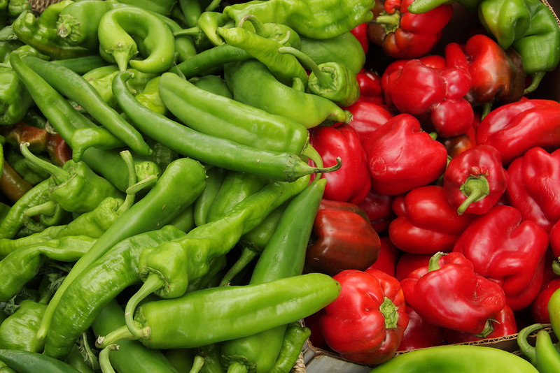 """Organic chili pepper assortment at farmer's market.  (To purchase prints or downloads, click on the """"Buy"""" or shopping cart button above the image.)"""
