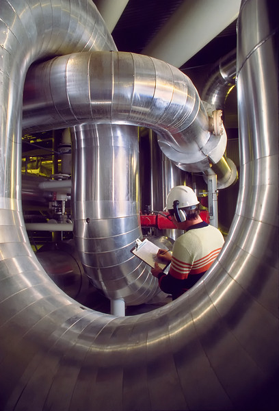 Inspector in an industrial plant