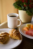 "Continental breakfast of coffee, pastry, and fresh fruit. (To purchase prints or downloads, click on the ""Buy"" or shopping cart button above the image.)"