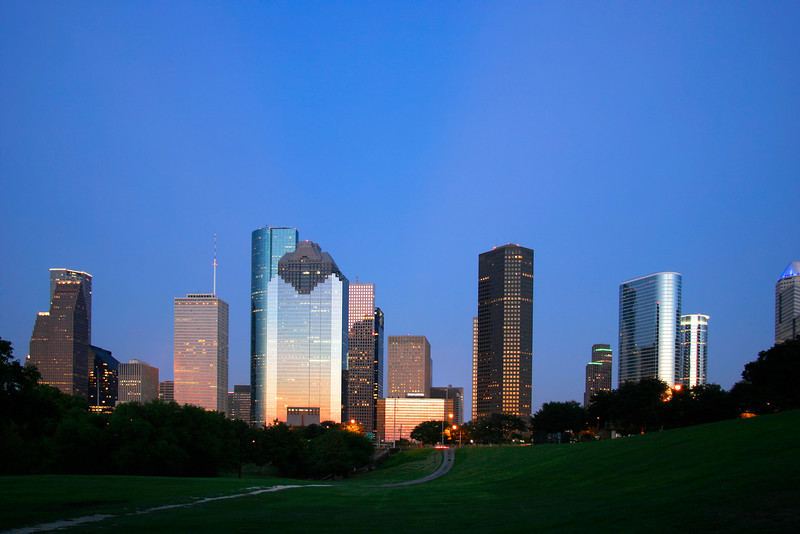 """Houston, Texas Skyline at Dusk. (To purchase prints or downloads, click on the """"Buy"""" or shopping cart button above the image; then choose """"This Photo"""", followed by clicking on the 'Prints', 'Merchandise', or 'Downloads' tab.)"""