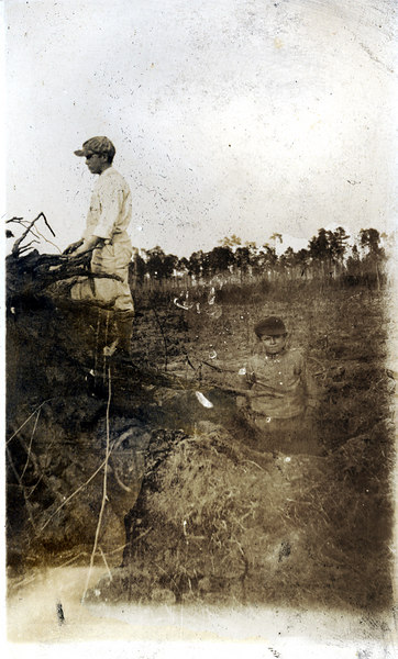 Clearing stumps on the John Paulk farm near Alapaha about 1920. This series of photographs documents the farming process in Berrien County about 1920