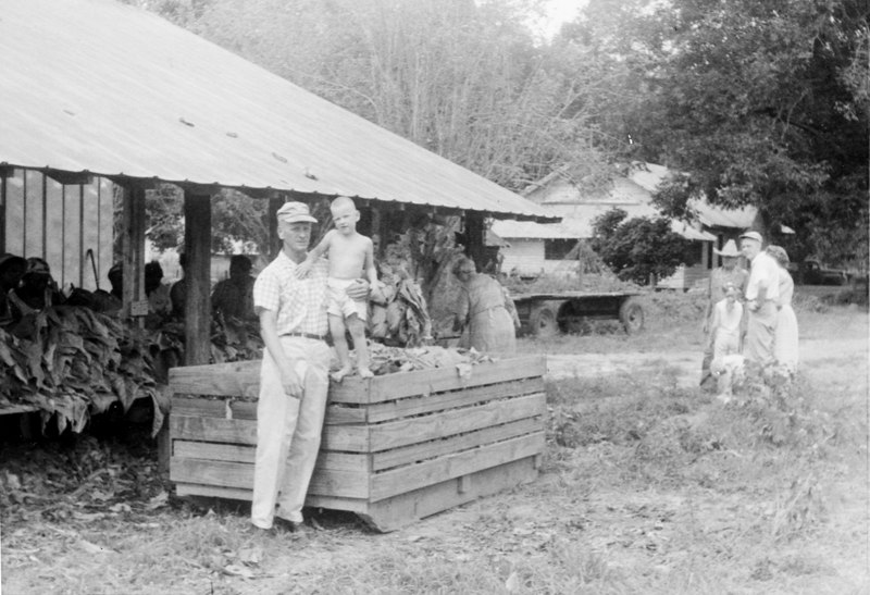 Tobacco sled on the W. E. Griffin farm 1960. Standing by the sled are W. E. Griffin and his son, Larry Griffin.