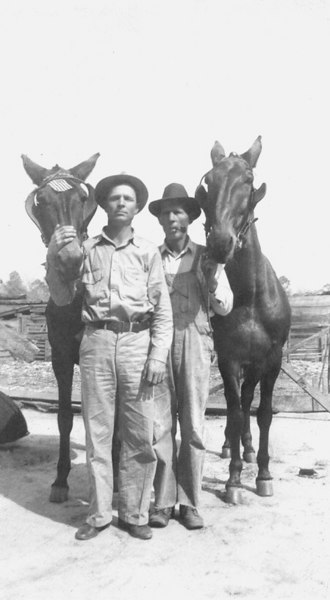Sills Farm 1942. Clyde Sills and his father Henry Sills.