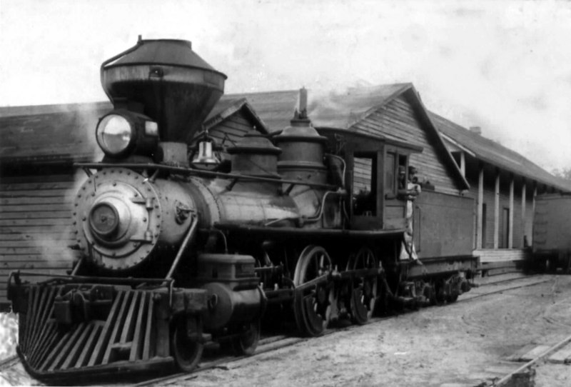 One of the Milltown Air Line Railway's locomotives parked in front of the depot in Milltown, circa 1905. Photo courtesy of Bernice Craven Spray