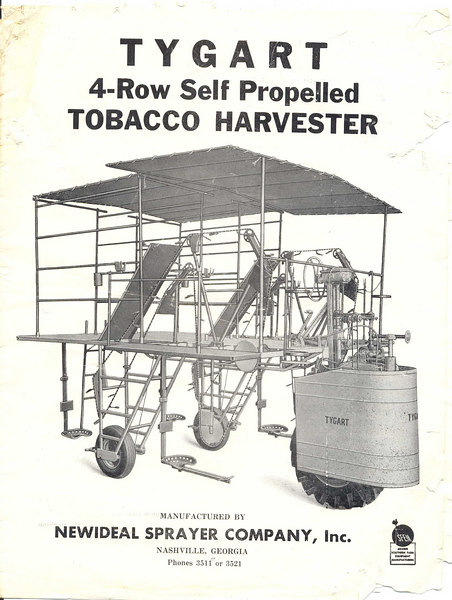 Newideal Sprayer Company's advertisement for their tobacco harvester.