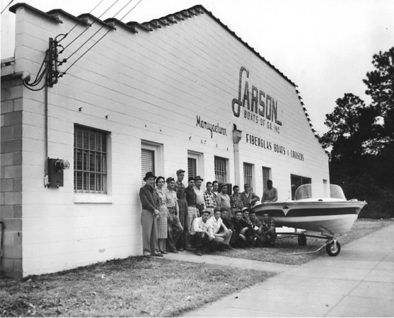 Larson Boats of South Georgia. Manufacturer of fiberglass boats and cruisers in the 1960s. L-R: A.T. King, Elizabeth Hadsock.