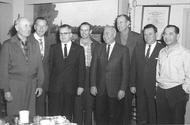 "LARSON BOATS OF GEORGIA BOARD OF DIRECTORS 1960<br /> L-R: _______?, Buddy Corbitt, H. D. Hand, ____?, Raymond Guest, W. D. ""Bill"" Perry, T. Carson Perkins, Norris Levin"