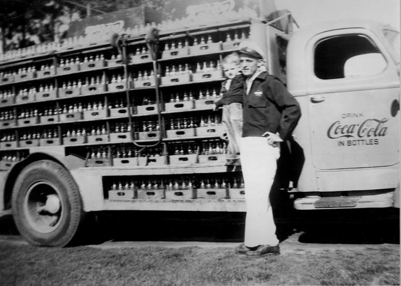 Lacy Polk with son, Bobby Polk, with Coca-Cola delivery truck, circa 1949. (Photo courtesy of Bobby Polk)