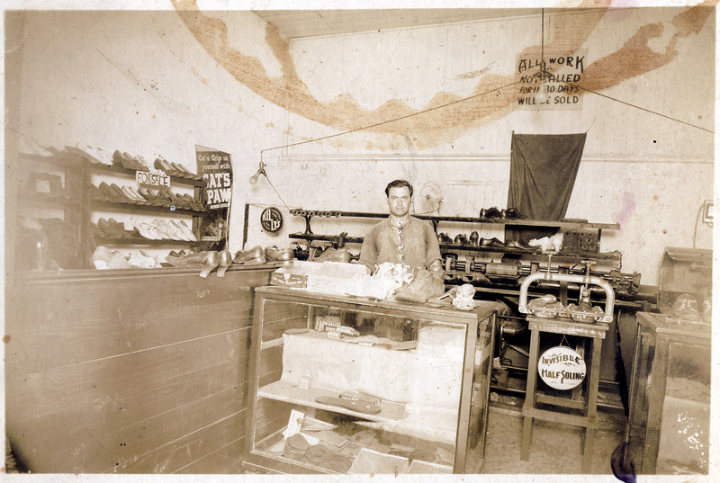 Herman Meyer Shoe Repair Shop about 1930. He operated the shop at several different locations, but the shop on East Marion Avenue was the one most will recall.