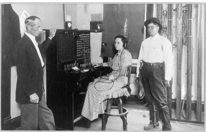 Nashville Phone Company 1920s, L-R, W. A. Moore, Miss Henrietta Griffin, and J. Leonard Connell.  Office was located above the former Dixieland 5&10, later Badcock Furniture