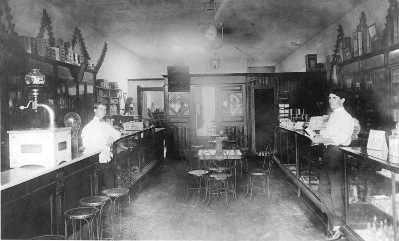 Clements Pharmacy in Milltown, Georgia<br /> Charlie Clements, left, and Will Howell, right<br /> Photo courtesy of Jane Purvis