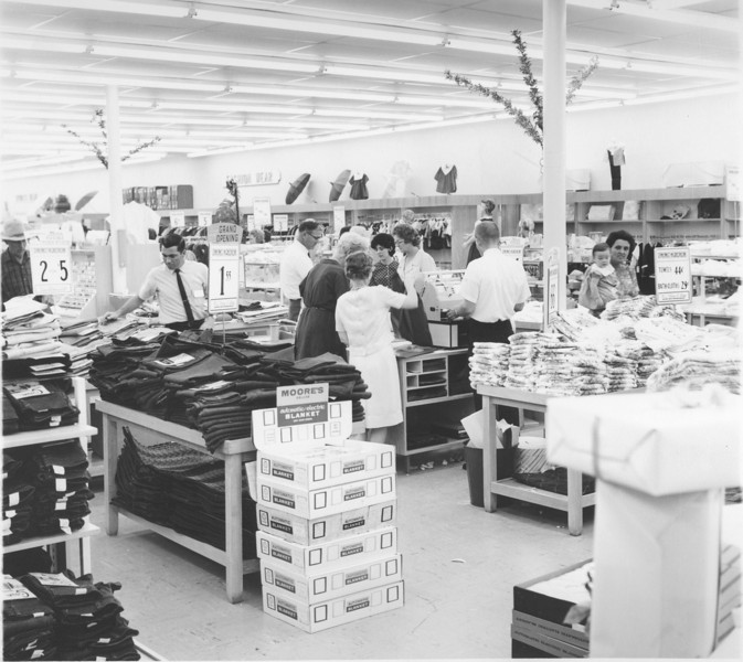 B.C. Moore's Store interior - grand opening July 1965