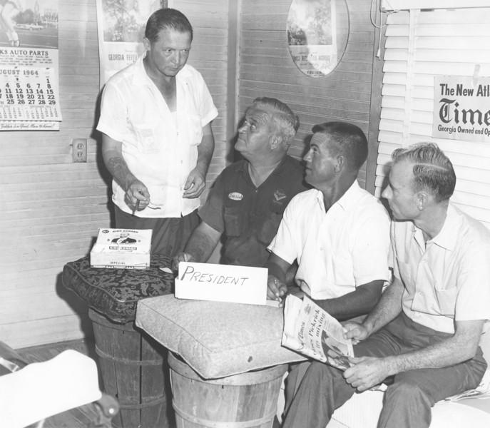 Johnny Webb Avera Barber Shop on Marion Street. Johnny Webb Avera, Julius Parrish, Julian Vickers, Julian Gurganius.