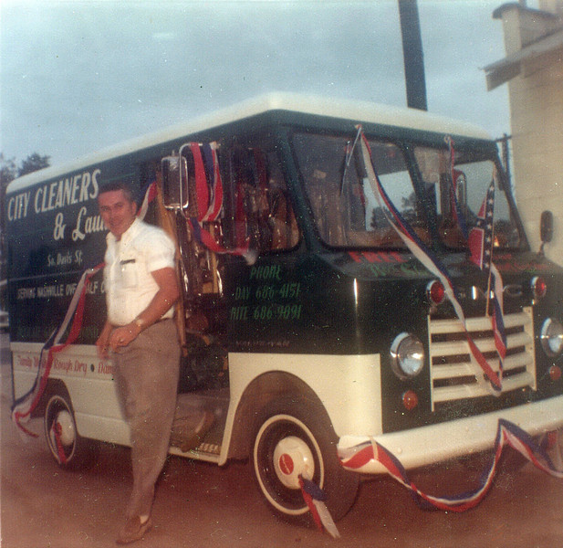 Arlie Parker, Jr. with City Cleaners and Laundry delivery truck mid-1960s