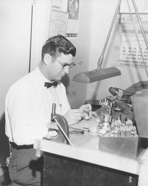 Hubert L. Warr, a local jeweler and watchmaker  in Nashville. Shop was located on West Washington next to Schwartz Pontiac.