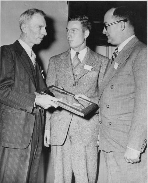 Local newspaper giants: Left to right: Unidentified, Jamie Connell, Wardlow Starling