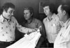 Employees of the Nashville Textile Plant.  Left to right: Unidentified, unidentified, Ronald Walker, Dan Daniels, plant manager.
