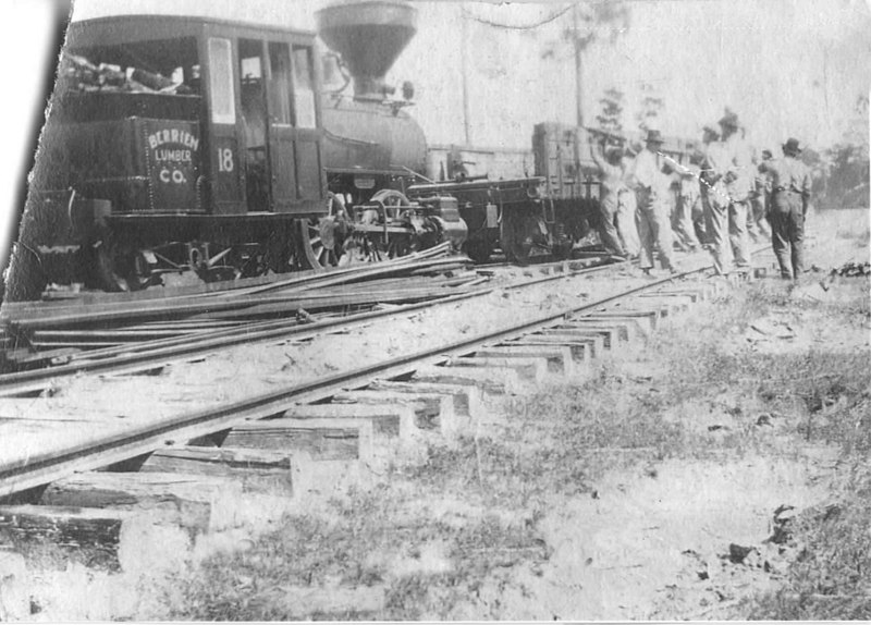 Berrien Lumber Company. Shown is the Nashville-Adel train that brought logs and picked up lumber from the sawmill's sidetrack.