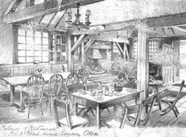 <font size=3><u> - Interior of the KCB Cafe - </u></font> (BS0089)  See also BS0216 and BS0217 below.  Demolished with the Garage when the RAF runway was extended in 1941.